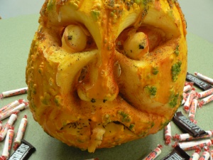 "24/5 Library Zombie PumpkinThis is the final day of the staff council fundraiser for Caring & Sharing. Pumpkins are on display in the campus center (near coffee shop & info desk). Come visit and use your spare change to ""vote"" for your favorite pumpkin. The department whose pumpkin solicits the largest amount in donations wins a trophy."